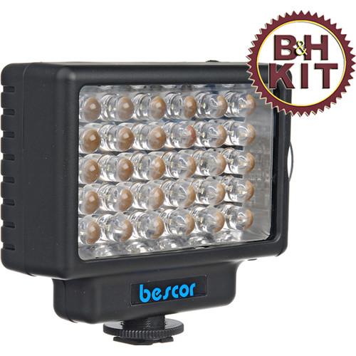 Bescor LED-35D Dimmable 35W LED Video & DSLR Light Kit w/Universal Shoe Mount Adapter