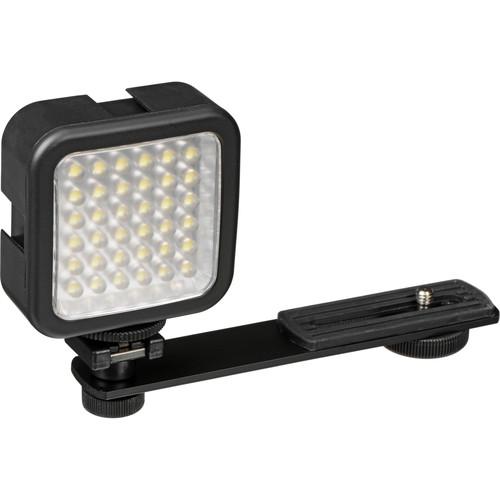 Bescor LED-40 On-Camera Light with Vello Multi-Function Ball Head Kit