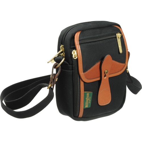 Billingham Stowaway Compact Shoulder Bag (Black/Tan Leather)