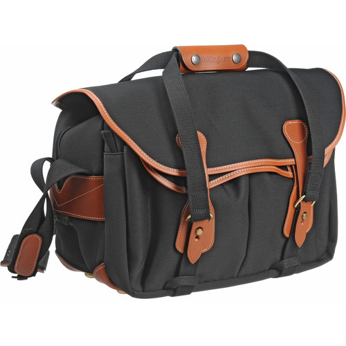 Billingham 335 Shoulder Bag (Black with Tan Leather Trim)