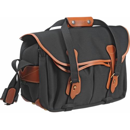 Billingham 335 Shoulder Bag (Canvas, Black with Tan Leather Trim)