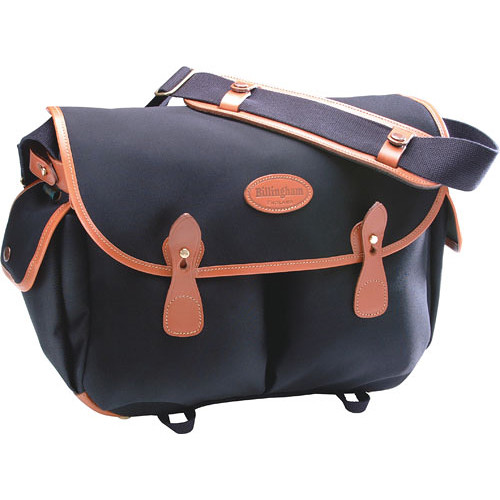 Billingham Packington Shoulder Bag (Black with Tan Leather Trim)