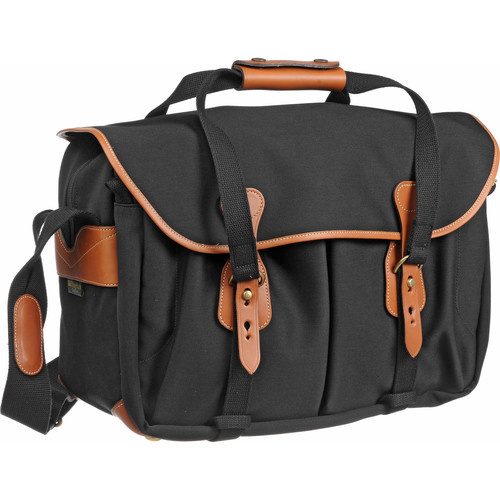 Billingham 445 Shoulder Bag (Black with Tan Leather Trim)
