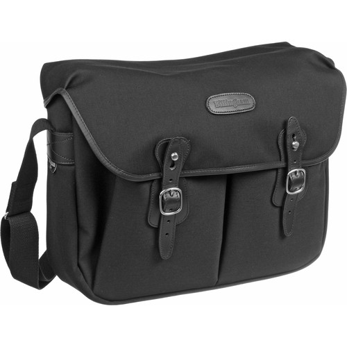 Billingham Hadley Shoulder Bag, Large (Black with Black Leather Trim)
