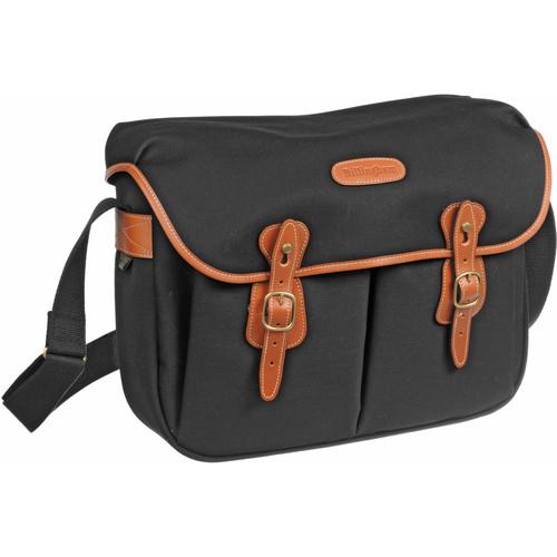 Billingham Hadley Large Canvas Shoulder Bag (Black with Tan Leather Trim)