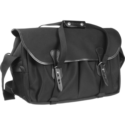 Billingham 555 Shoulder Bag (Black with Black Leather Trim and Nickel Fittings)