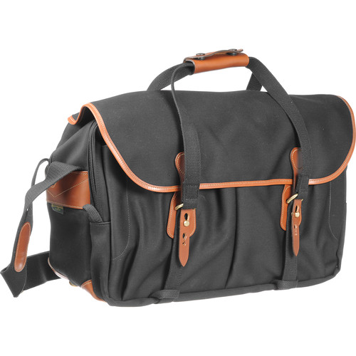 Billingham 555 Shoulder Bag (Black with Tan Leather Trim and Brass Fittings)