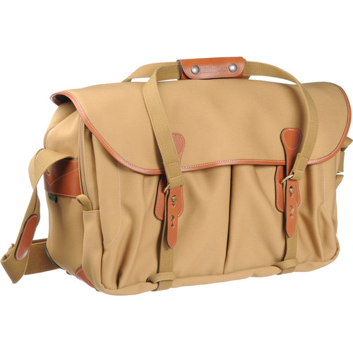 Billingham 555 Shoulder Bag (Khaki Canvas with Tan Leather Trim and Brass Fittings)