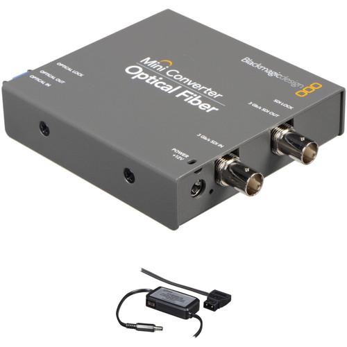 Blackmagic Design Mini Converter Optical Fiber w/ Switronix Powertap Converter Cable Kit