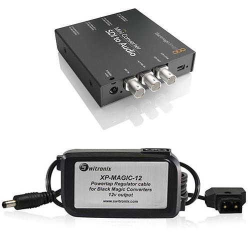 Blackmagic Design Mini Converter SDI to Audio w/ Switronix Powertap Converter Cable Kit