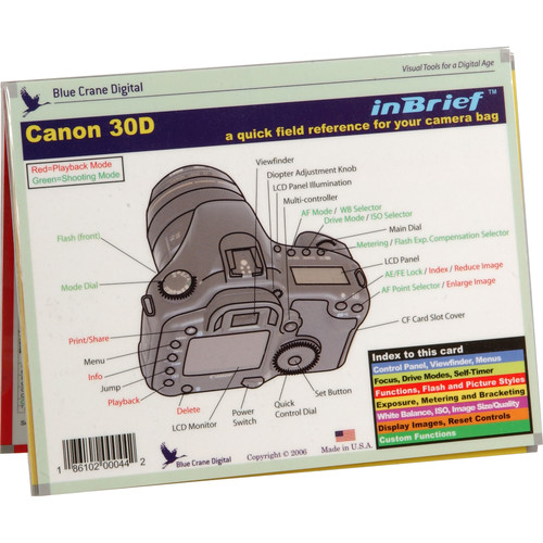 Blue Crane Digital Reference Card: Introduction to the Canon EOS 30D Digital Camera