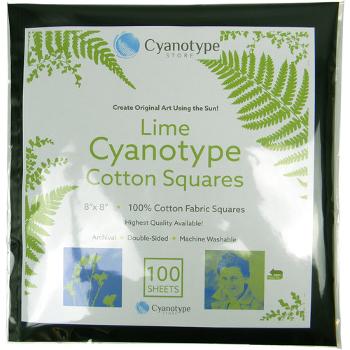 "Blue Sunprints Cyanotype Cotton Squares - 8 x 8"" (100 Pack, Lime)"