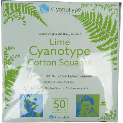 """Blue Sunprints Cyanotype Cotton Squares - 6 x 6"""" (50 Pack, Lime)"""