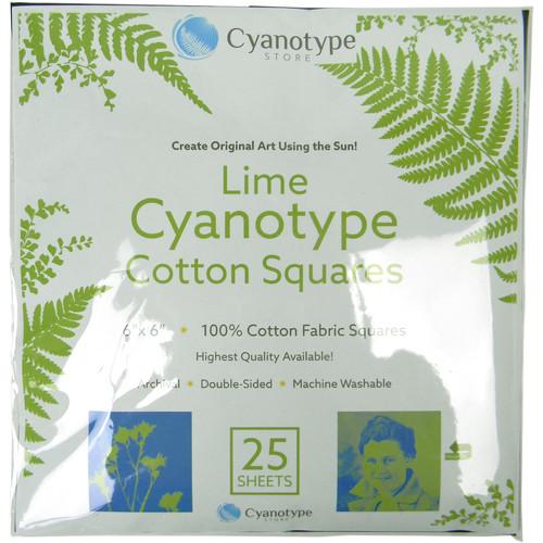 """Blue Sunprints Cyanotype Cotton Squares - 6 x 6"""" (25 Pack, Lime)"""
