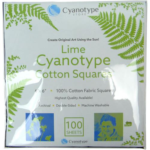 """Blue Sunprints Cyanotype Cotton Squares - 6 x 6"""" (100 Pack, Lime)"""