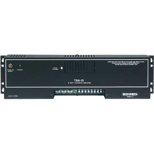 Bogen Communications TBA15 - Two-Way Talkback Amplifier (15W)