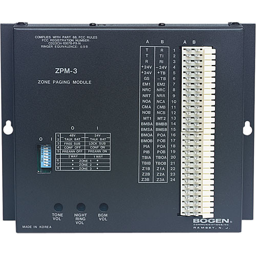 Bogen Communications ZPM3 3-Zone Telephone Paging Module