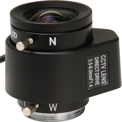 "Bolide Technology Group BP0019-8M 1/3""  3.5-8.0mm CS Mount Varifocal Manual Iris Lens"