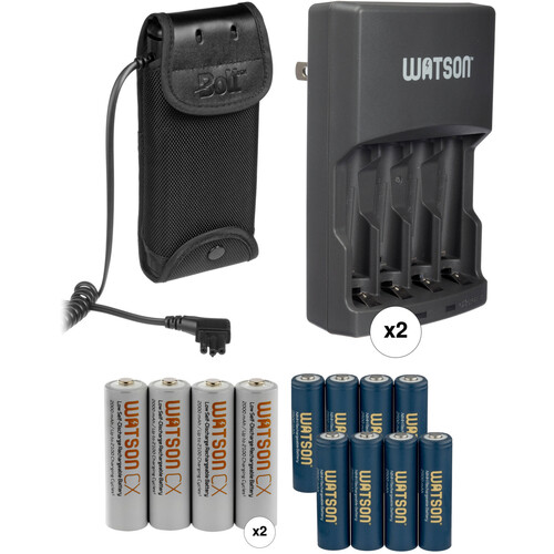 Bolt CBP-N2 Compact Battery Pack f/Nikon SB-900, SB-910 & SB-5000 Flash w/8 AA NiMH Batteries & (2) Chargers