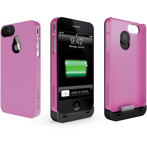 Boostcase Hybrid Snap-on Case / Extended Battery for iPhone 4/4S (Black/Pink)