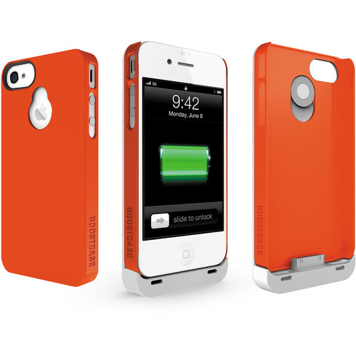 Boostcase Hybrid Snap-on Case / Extended Battery for iPhone 4/4S (White/Red)