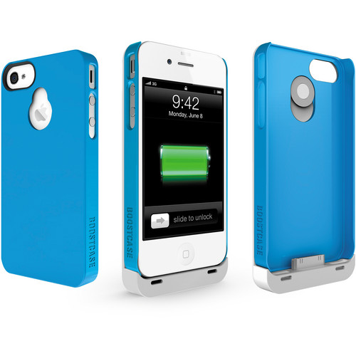Boostcase Hybrid Snap-on Case / Extended Battery for iPhone 4/4S (White/Blue)