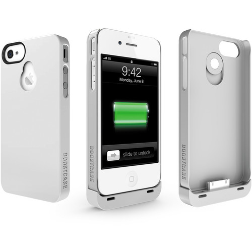 Boostcase Hybrid Snap-on Case / Extended Battery for iPhone 4/4S (White/White)