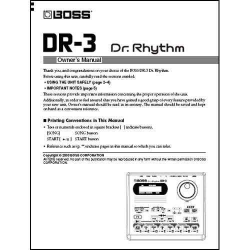 BOSS DVD Manual ONLY for DR-3 - DR. RHYTHM Drum Machine
