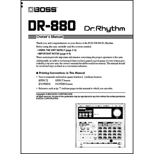 BOSS DVD: Owner's Manual for the Boss DR-880 Rhythm Machine