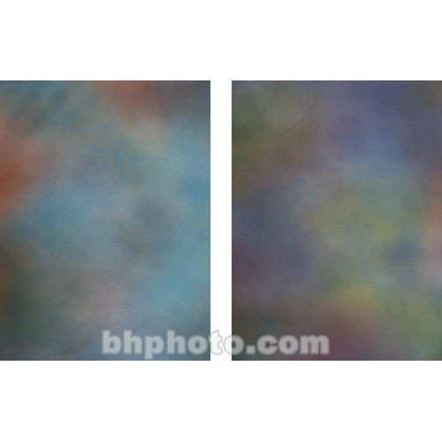 Botero Double-Sided Muslin Background (10 x 12', Blue, Yellow, & Orange / Purple, Yellow, & Gold)