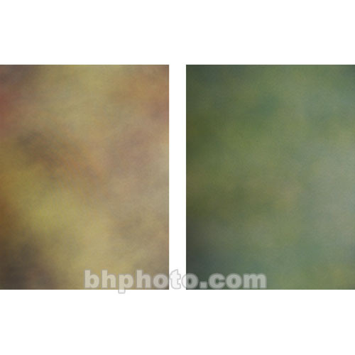 Botero Double-Sided Muslin Background (10 x 12', Gray, Brown, Yellow, & Orange / Green, Olive)