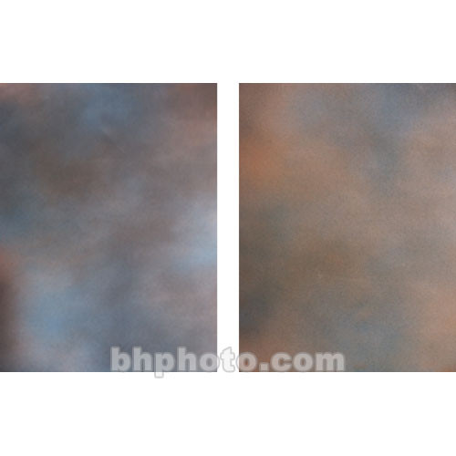 Botero Double-Sided Muslin Background (10 x 24', Blue, Dark Gray / Orange, Violet & Brown)