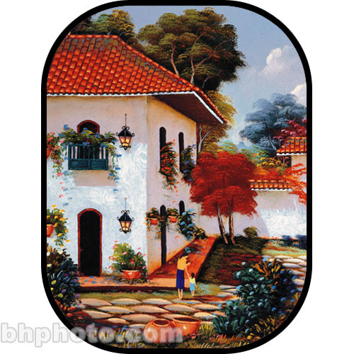 Botero C733 5x7' Collapsible Scenic Background (Courtyard, White House with Red-Tiled Roof)