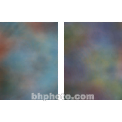 Botero Double-Sided Muslin Background (10 x 24', Blue, Yellow, & Orange / Purple, Yellow, & Gold)