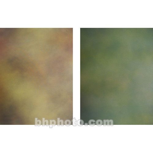Botero Double-Sided Muslin Background (10 x 24', Gray, Brown, Yellow & Orange / Green, Olive)