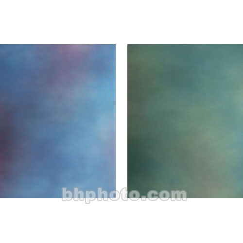 Botero Double-Sided Muslin Background (10 x 24', Blue, Violet & Pink / Emerald, Blue & Gray)