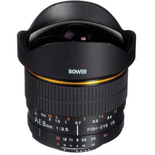 Bower 8mm Super Wide Angle f/3.5 Fisheye Lens w/Focus Confirm Chip for Nikon