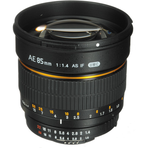 Bower 85mm f/1.4 Aspherical Lens with Focus Confirm Chip for Nikon