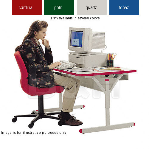 Bretford Connections Adult Height-Adjustable Work Center (Cardinal Red Trim)