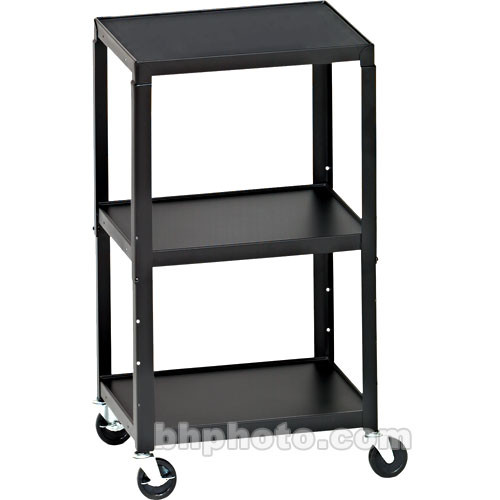 Bretford Adjustable AV Cart with 3 Shelves and 2-outlet Electrical Unit (Black)