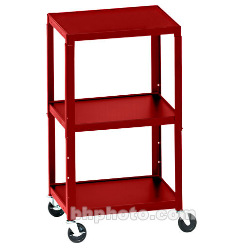 Bretford Adjustable AV Cart with 3 Shelves and 2-outlet Electrical Unit (Cardinal)