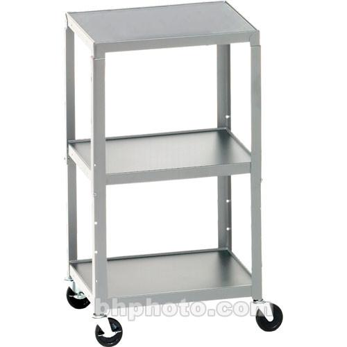 Bretford Adjustable AV Cart with 3 Shelves and 2-outlet Electrical Unit (Quartz)