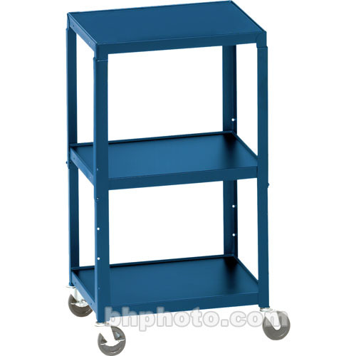 Bretford Adjustable AV Cart with 3 Shelves and 2-outlet Electrical Unit (Topaz)