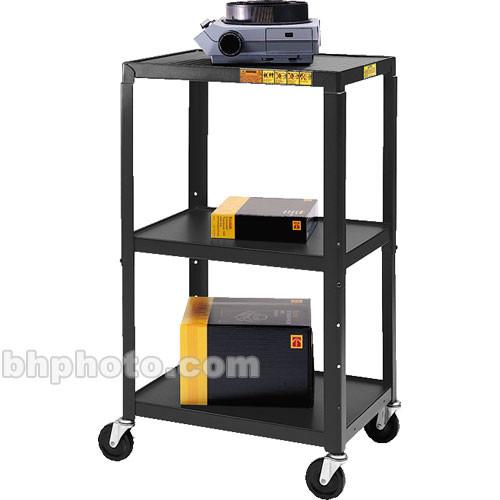 Bretford Adjustable AV Cart with 3 Shelves and 2-outlet Electrical Unit (Black)
