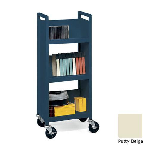 Bretford L327-PB Mobile Utility Truck with 3 Slant Shelves (Putty Beige)