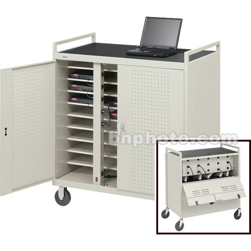 """Bretford Laptop Computer Storage Cart for 18 Units w/ 8"""" Rubber Casters & 2 UL-Listed 9-Outlet Elec. Units"""
