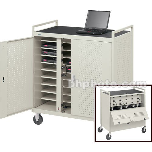 "Bretford Laptop Computer Storage Cart for 18 Units w/ 8"" Rubber Casters & 2 UL-Listed 9-Outlet Elec. Units on Front"