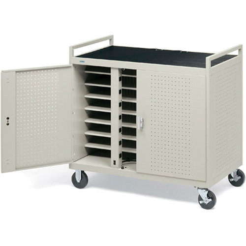 """Bretford Laptop Computer Storage Cart for 24 Units w/ 2 14-Outlet Elec. Units on Front & 8"""" Rubber Tires [FULLY ASSEMBLED]"""
