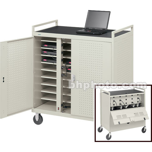 Bretford UL-Listed Laptop Computer Storage Cart for 30 Units w/ Elec. Unit on Front