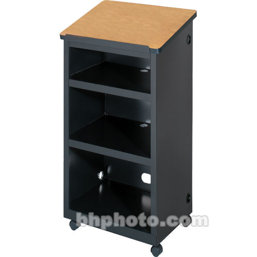 "Bretford Mobile Lectern w/ 2"" Twin-Wheel Casters (24.0 x 16.0 x 45.0"") - Raven Base w/ an Oak Top"